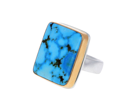 Rectangular Kingman Turquoise Ring