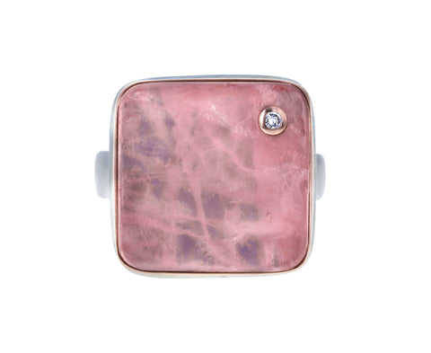 Surface Cut Rose Quartz and Diamond Ring