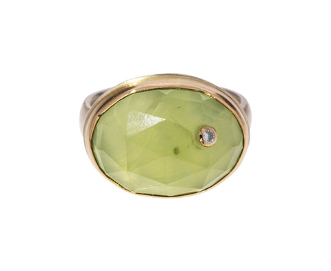 Rose Cut Prehnite and Diamond Ring