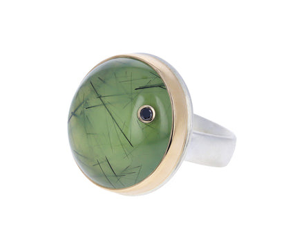Round Prehnite and Black Diamond Ring