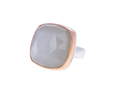 Square White Moonstone Ring