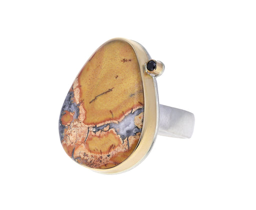 Jasper and Black Diamond Ring