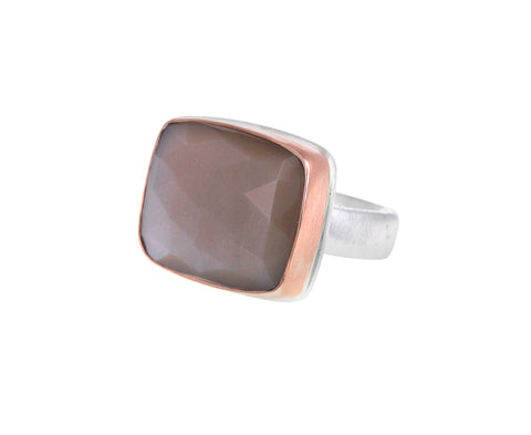 Rectangular Peach Moonstone Ring