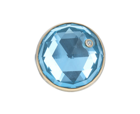 Rose Cut Blue Topaz and Diamond Ring