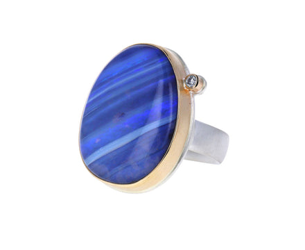 Oval Boulder Opal and Diamond Ring