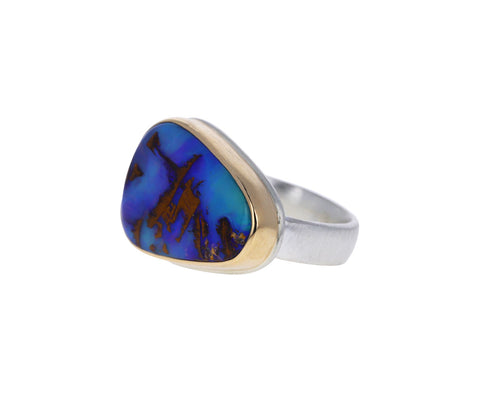 Asymmetrical Triangular Boulder Opal Ring