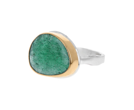 Asymmetrical Green Quartz Ring