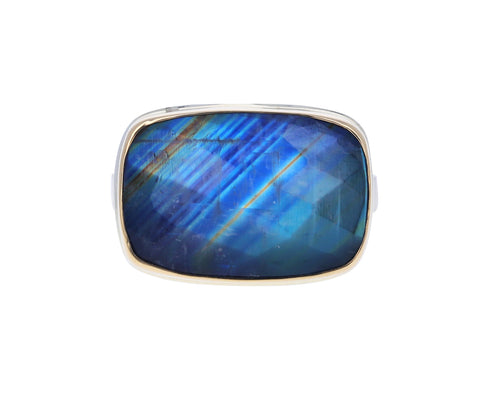 Checkerboard Rainbow Moonstone Ring