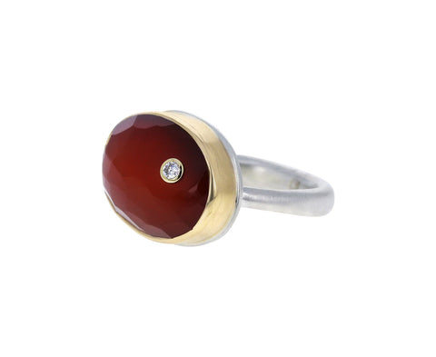Carnelian and Diamond Ring