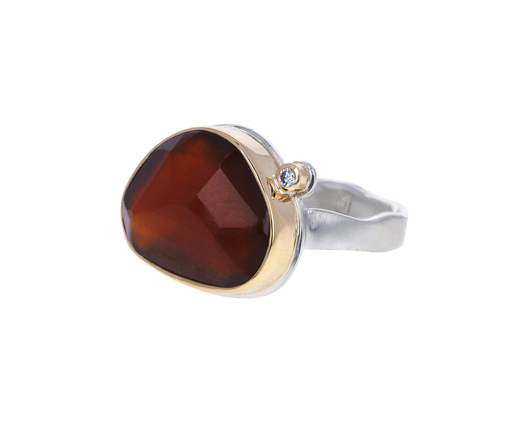 Hessonite Garnet and Diamond Ring