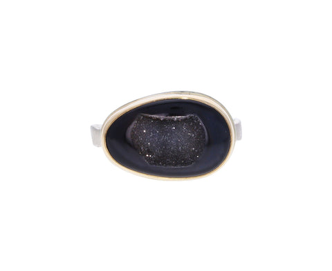 Asymmetrical Dark Bali Drusy Ring
