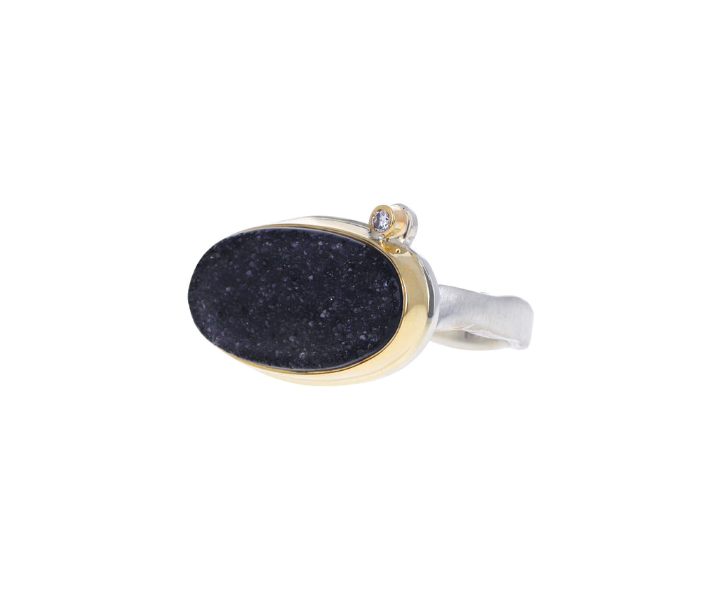 Brazilian Black Drusy Diamond Ring