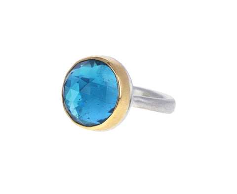 Round Rose Cut Blue Topaz Ring