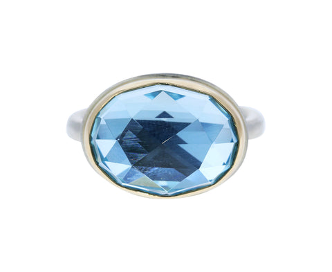 Rose Cut Sky Blue Topaz Ring