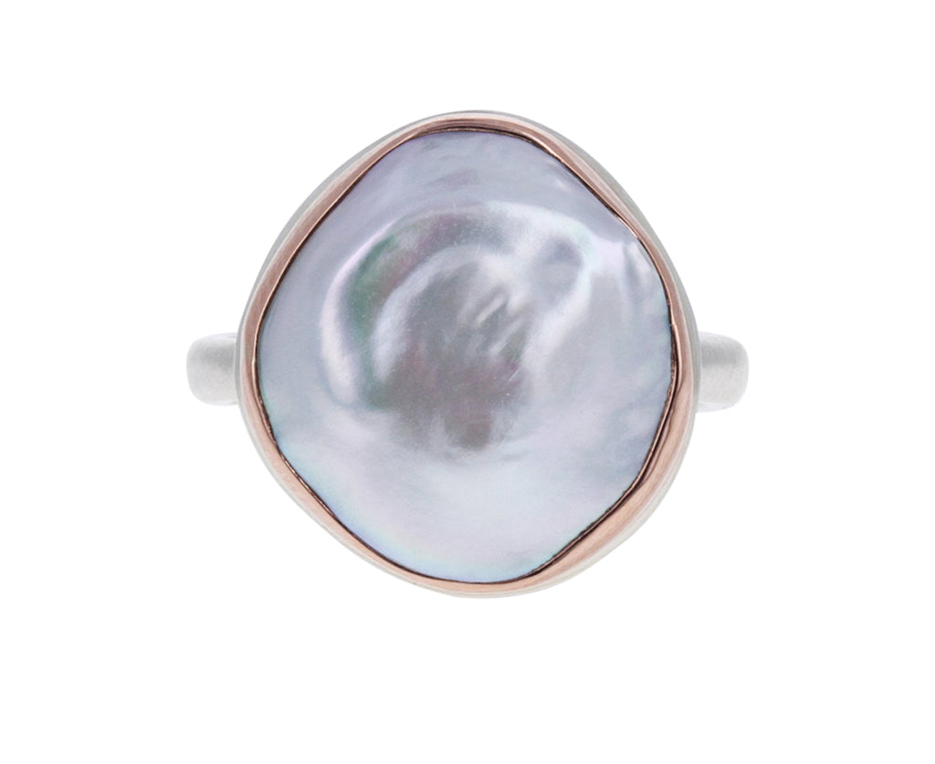 Asymmetrical Pink Cultured Pearl Ring