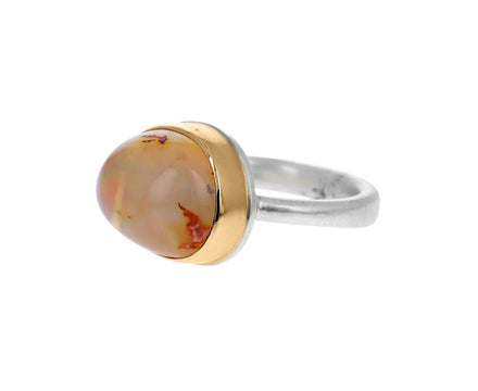 Asymmetrical Mexican Fire Opal Ring