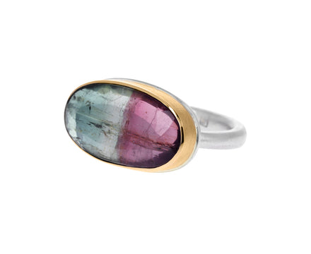 Oval Watermelon Tourmaline Ring