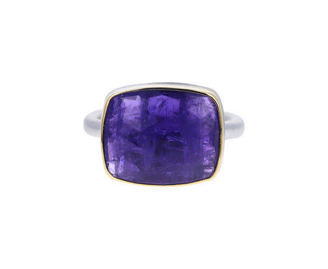 Rose Cut Rectangular Tanzanite Ring