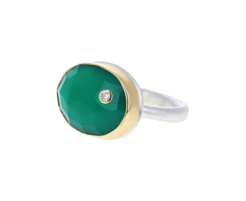 Green Onyx Diamond Ring