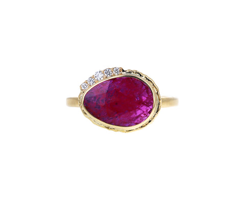 Rose Cut Ruby and Diamond Ring