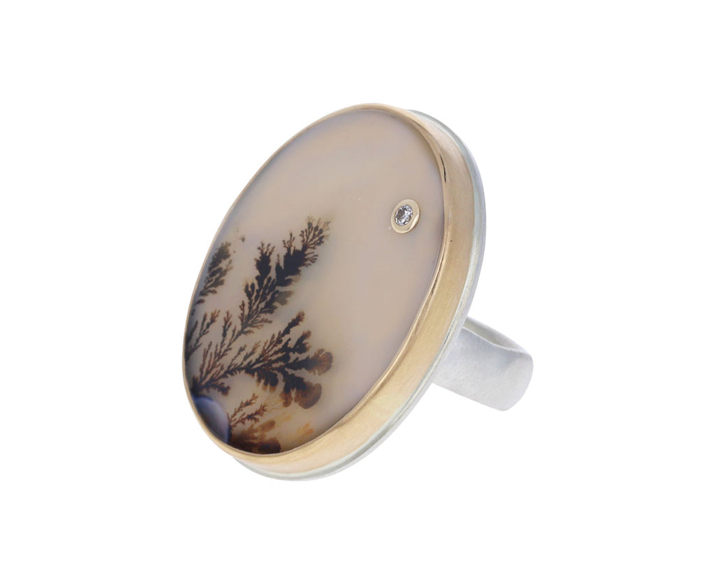 Dendritic Agate and Diamond Ring