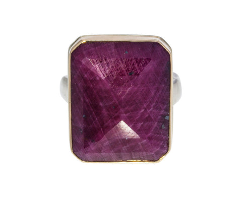 Rectangular Indian Ruby Ring