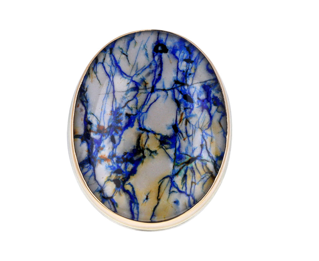 Large Oval Azurite and Rock Crystal Ring