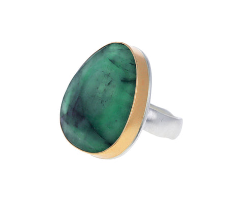 Asymmetrical Rose Cut Emerald Ring