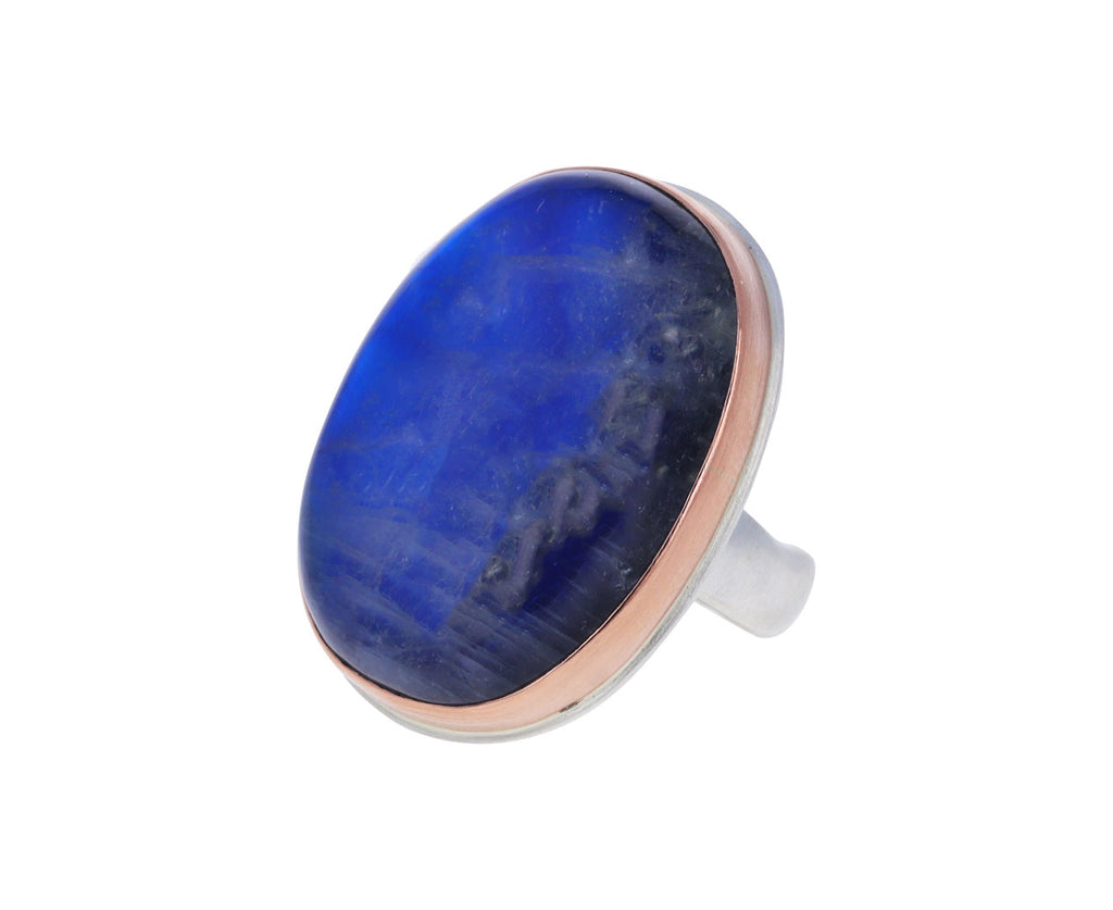 Large Smooth Vertical Blue Rainbow Moonstone Ring