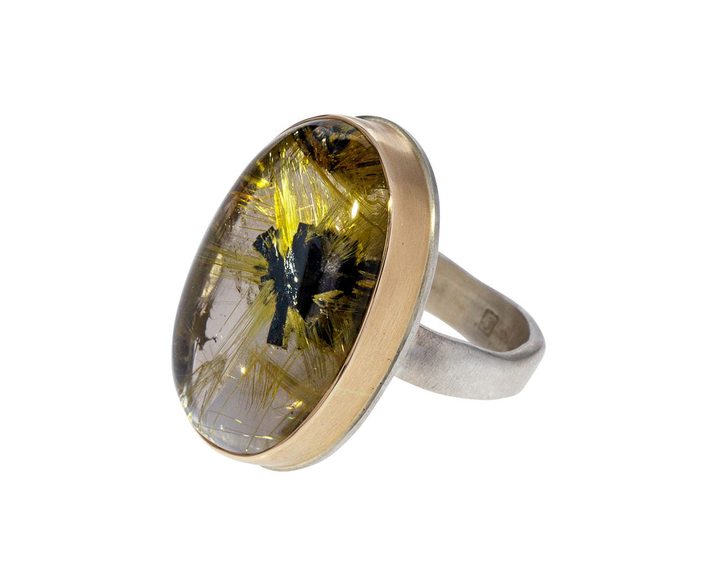 Smooth Golden Rutilated Quartz Ring