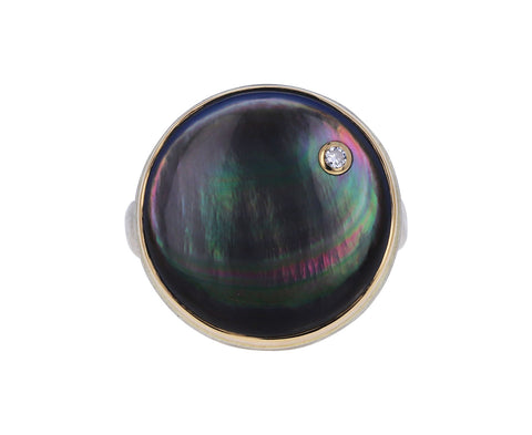 Round Black Mother-of-Pearl and Diamond Ring