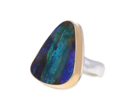 Smooth Triangular Boulder Opal Ring