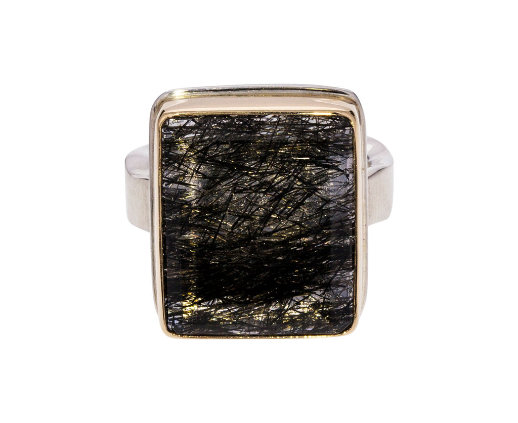 Rectangular Tourmalated Quartz Ring