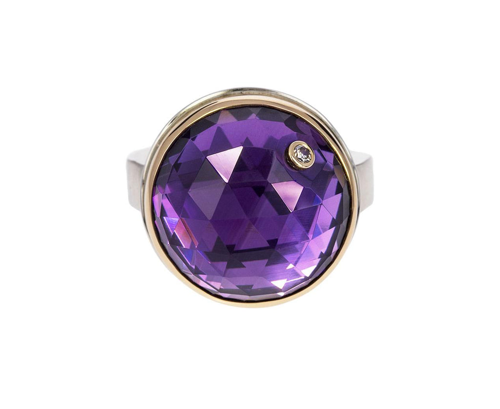 Round Amethyst Ring with Diamond - TWISTonline
