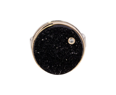 Black Brazilian Druzy and Diamond Ring