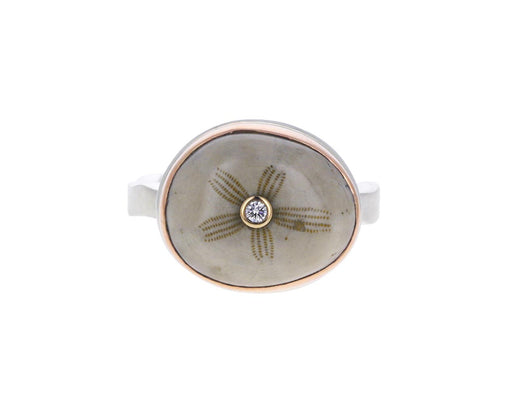 Fossilized Sand Dollar and Diamond Ring