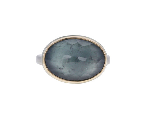 Oval Inverted Moss Aquamarine Ring