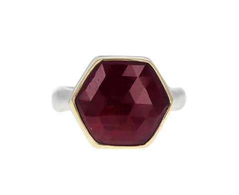 Hexagonal Indian Ruby Ring
