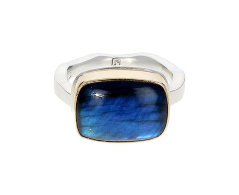 Rectangular Labradorite Ring