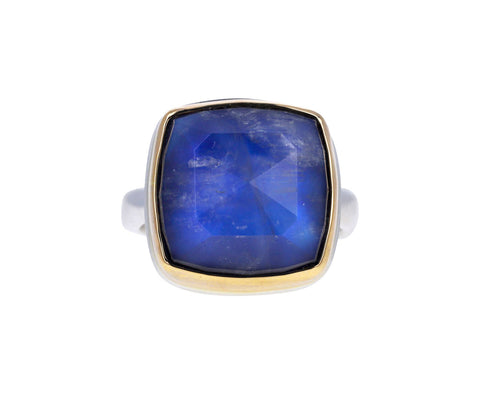 Square Blue Rainbow Moonstone Ring