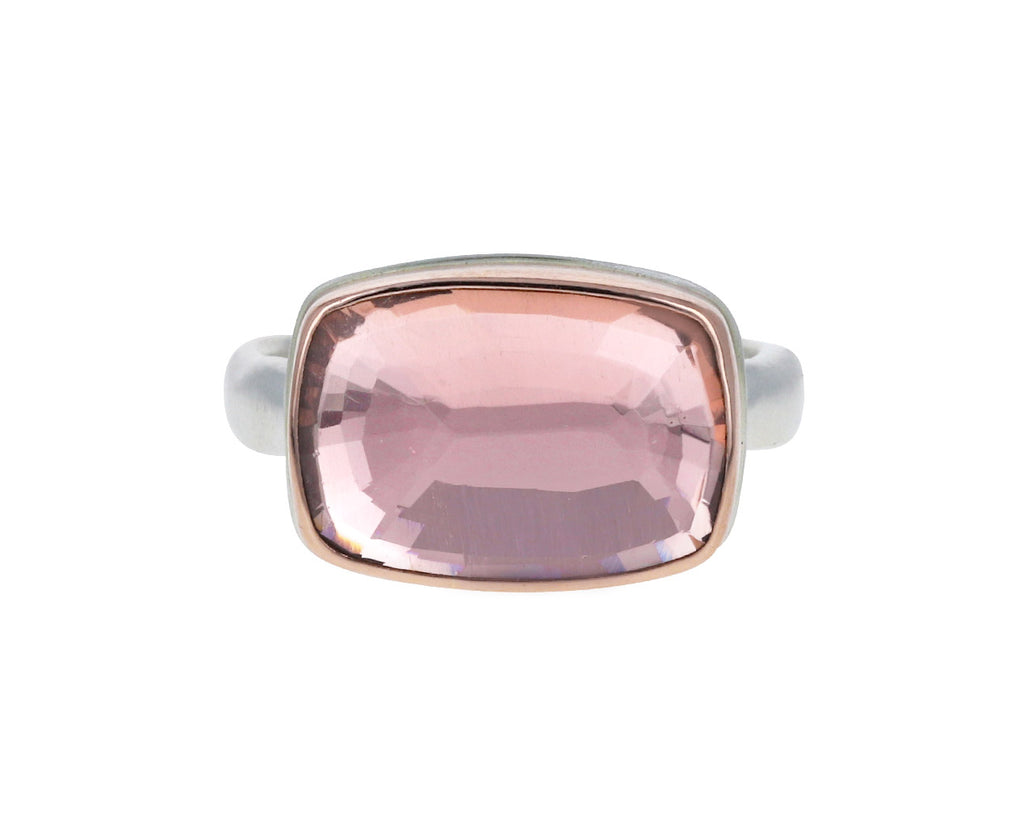 Rectangular Pink Tourmaline Ring