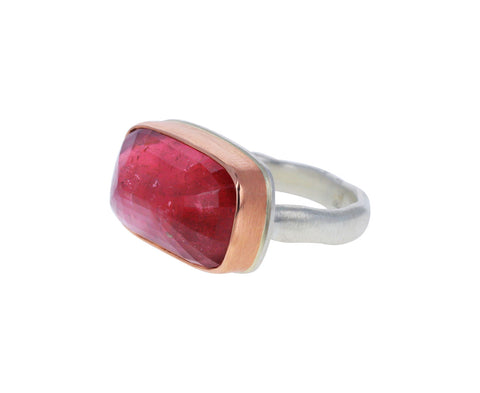 Rectangular Inverted Pink Tourmaline Ring