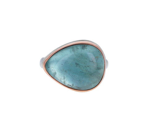 Tear Drop Smooth Aquamarine Ring