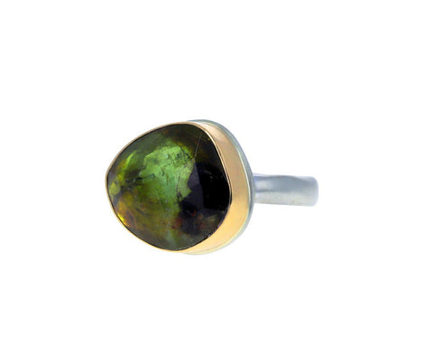 Asymmetrical Green Tourmaline Ring