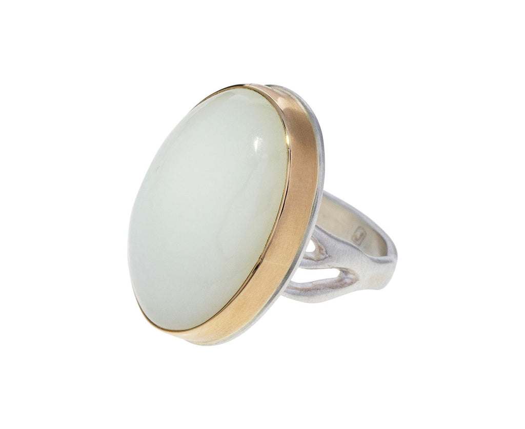 Smooth White Moonstone Ring