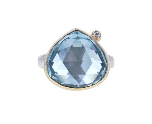 Lotus Rose Cut Blue Topaz and Diamond Ring