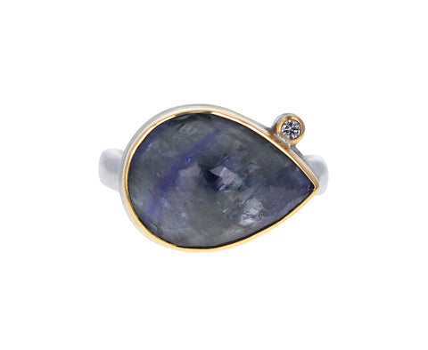 Tanzanite and Diamond Teardrop Ring