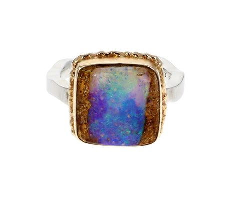 Square Opalized Wood Ring