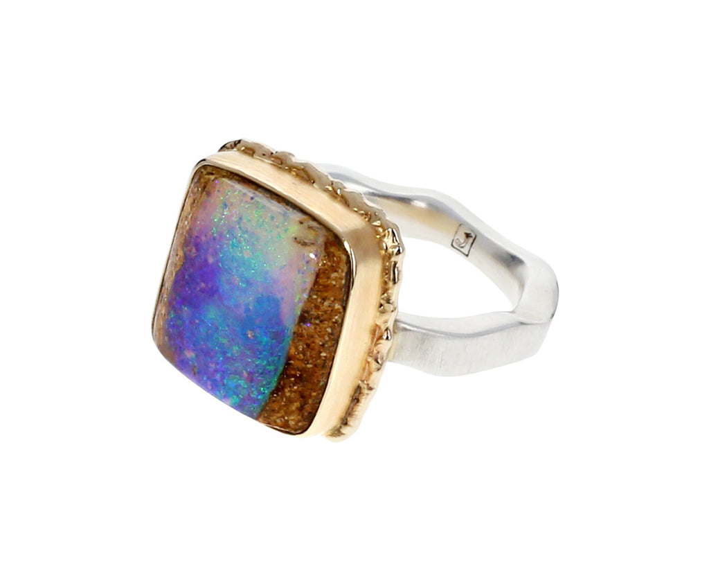 Square Opalized Wood Ring - TWISTonline