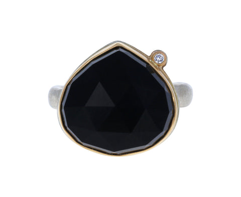 Lotus Cut Black Onyx and Diamond Ring